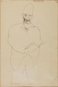 figura di uomo con libro e cappello by lorenzo viani