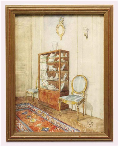 an interior with ceramics in a vitrine by jean leonhard koechlin schwartz