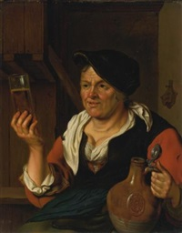 peasant woman in an interior holding a glass of beer and jug by carel de moor