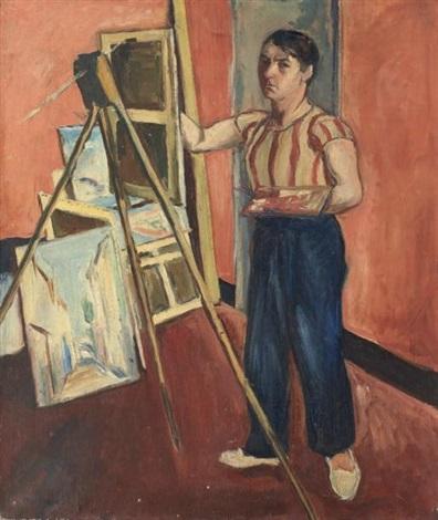 autoportrait du peintre dans son atelier by simon françois stanislas mondzain