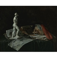 vanitas still life with a skull, feathers, an overturned roemer, a sculpture and a portfolio of drawings by abraham susenier