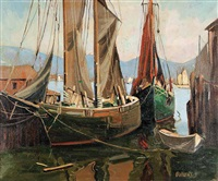untitled - two sailboats at dock by henry j. billings