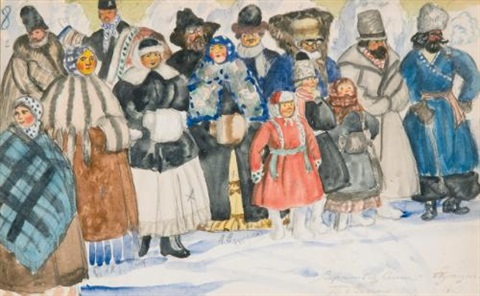 design for the spectators in the power of the fiend by boris mikhailovich kustodiev