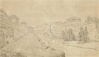 the ramparts of luxemburg, with the triererbergstrasse in the foreground and the altzette bridge to the left by johann wolfgang von goethe