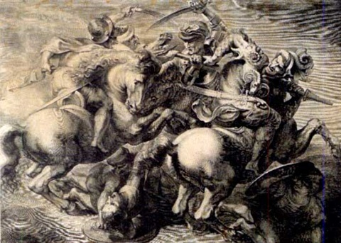 the battle of anghiari after peter paul rubens after leonardo da vinci by gérard edelinck