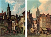 the clocktower in auxerre (+ a busy street in holland; pair) by simon van der ley
