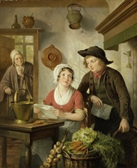 køkkeninteriør med ung pige og ung mand med brev, i baggrunden kone by adriaen de lelie