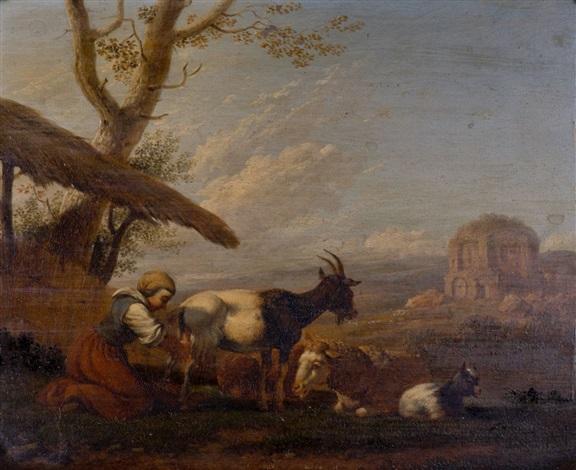 la traite des chèvres dans une campagne du moyen orient by hendrick mommers