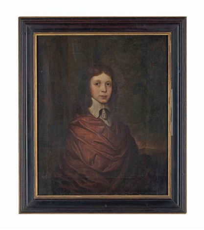 portrait of a young boy half length in a brown wrap and a lawn collar by john hayls