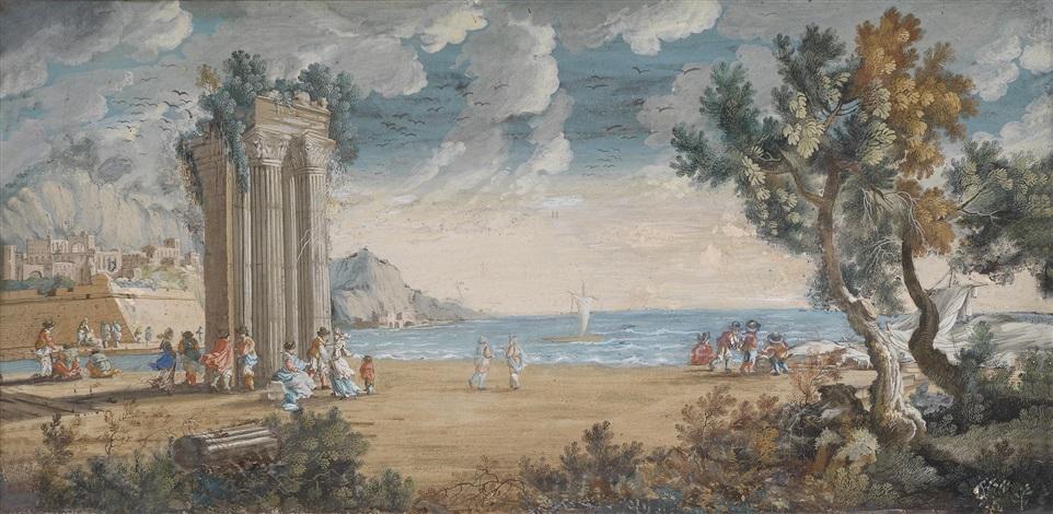 figuren vor ruinen an einem hafen by johann hans konig