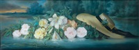 fleurs et chapeau de paille jetés sur l'eau au crépuscule by frederick juncker