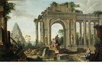 a capriccio of classical ruins, with figures resting by giovanni paolo panini