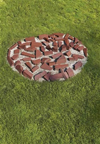 red slate circle (in 61 parts) by richard long