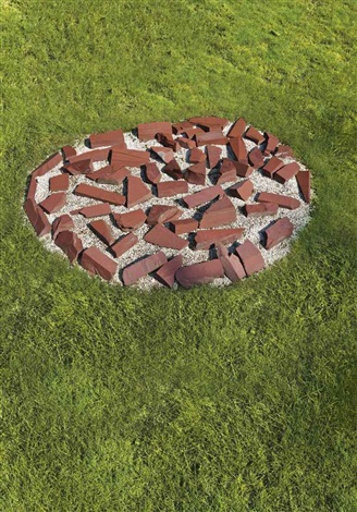 red slate circle in 61 parts by richard long