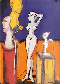 female nude in a gallery by carlo cazals