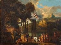 processione e offerta rituale davanti a un altare dedicato ad artemide con un cenotafio antico istoriato, in un paesaggio ideale, con la dea che appare nel cielo by herman van swanevelt