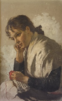 pensive thoughts - young girl with knitting by james brenan