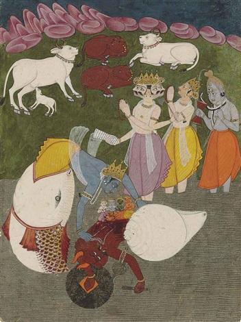 matsyavatara vishu slaying the demon who has stolen the vedas by anonymous indian 18