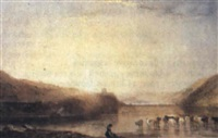 cattle watering at the edge of a lake, sunset by samuel austin