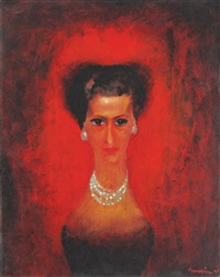 the night (woman with white pearls) by jules perahim