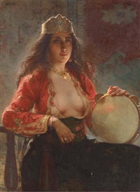 the tambourine player by francesco de maria