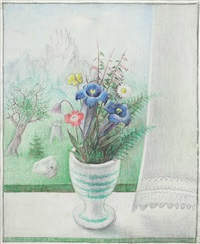 blumenvase am fenster by robert angerhofer