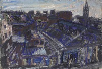 view of hackney with german hospital (no. 1) by leon kossoff