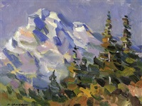 mountain scene with trees by fred cameron