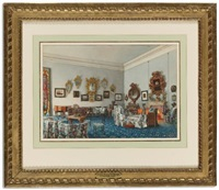 a drawing room with blue carpet and chintz upholstered furniture by luigi premazzi