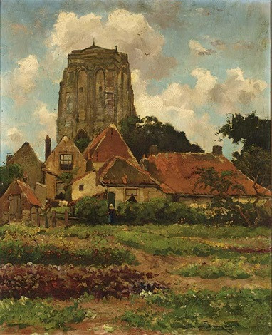 view of a village with vegetable garden zeeland by chris snijders
