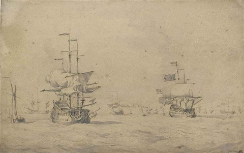 a fleet of men owar in a stiff breeze by willem van de velde the younger