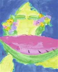 woman with watermelon by walasse ting