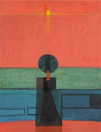composition abstraite sur fond rouge by sigismond kolos-vary