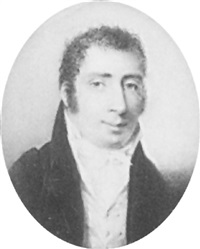 a gentleman in blue jacket, pale yellow waistcoat, white shirt and tied white cravat by jean baptiste ferdinand mulnier
