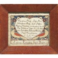 birth certificate for christian groh, lebanon township, pennsylvania by wilhelmus antonius faber