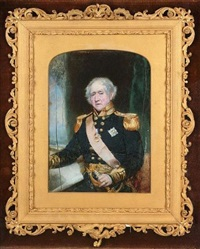admiral sir james hawkins of whitshed bt. wearing uniform, breast star and red sash of the order of the bath and naval gold medal (st. vincent), green curtain background by frederick cruickshank