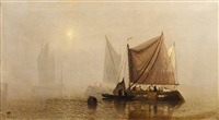 a misty morning on the scheldt by c. webster