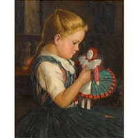 girl and her doll by oszkár glatz