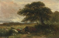 landscape with a gypsy tent by david cox the elder