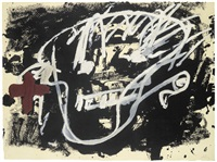 roig i negre 3; fulles (2 works) by antoni tàpies