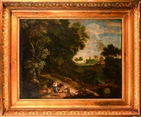paysage au pont, berger et promeneurs by cornelis huysmans