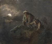 wilderer auf der lauer bei mondenschein by m. müller