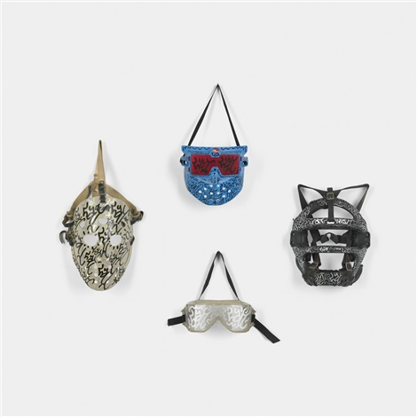 untitled collection of four masks by la ii angel ortiz