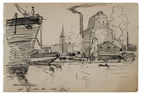 newport news (+ untitled - ships at dock; 2 works) by william granville smith