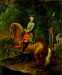 reiterbildnis des grafen ehrenstein, postmeister von linz, in einem schloßpark by johann georg tompke
