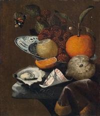 früchtestillleben mit geöffneter auster, almanachblatt und schmetterling by martinus nellius