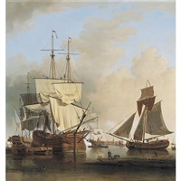 shipping on the thames off rotherhithe by samuel scott