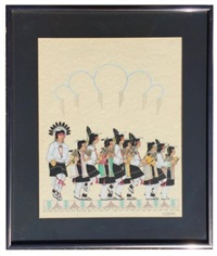 great san ildefonso watercolor of ten corn dancers by jose d. roybal