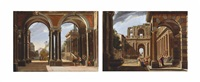 an architectural capriccio with helena leaving for troy (+ an architectural capriccio with achilles amongst the daughters of king lycomedes; pair) by viviano codazzi