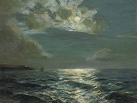 clouded moon off falmouth by julius olsson